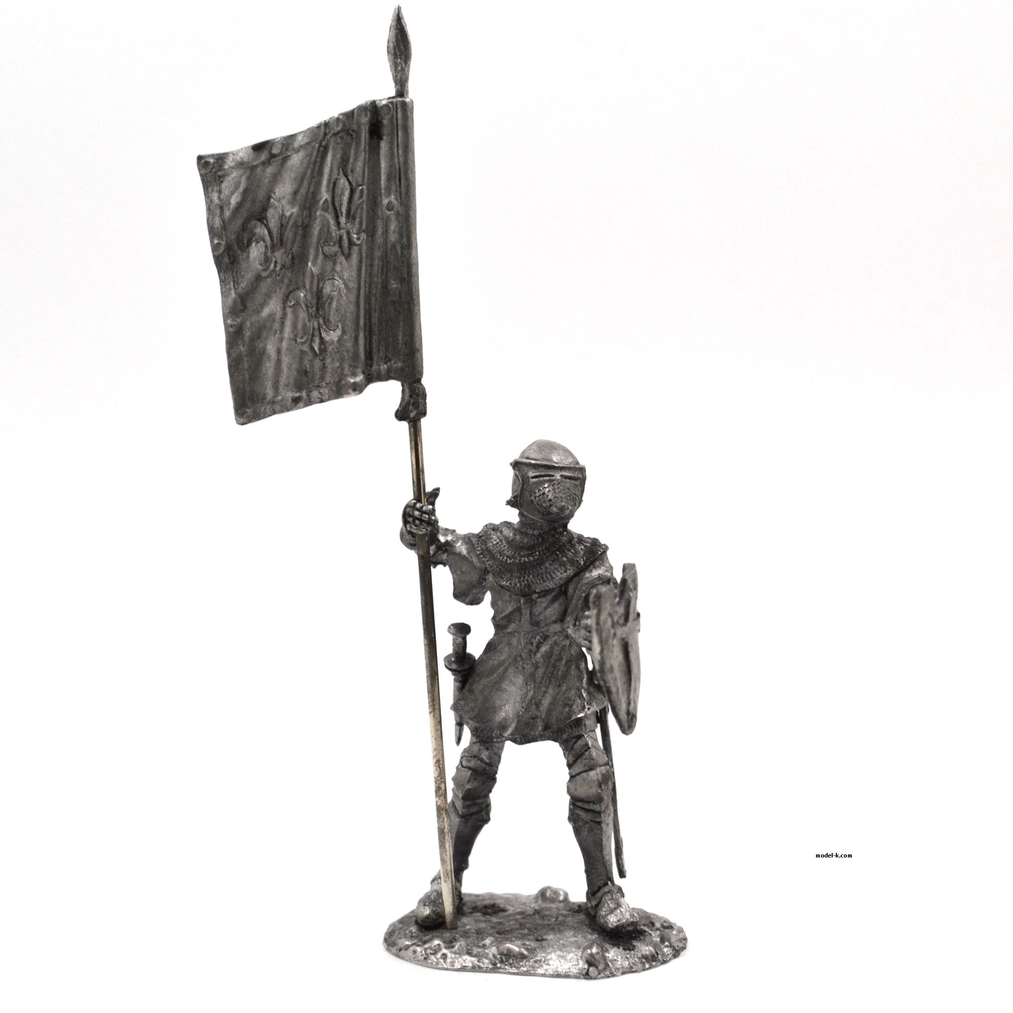 France Knight with banner 54mm tin figure