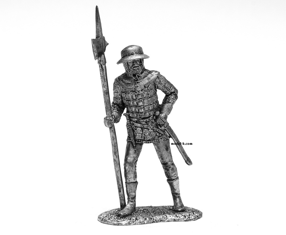 54mm Tin Castings Figurine of English Infantryman XV century
