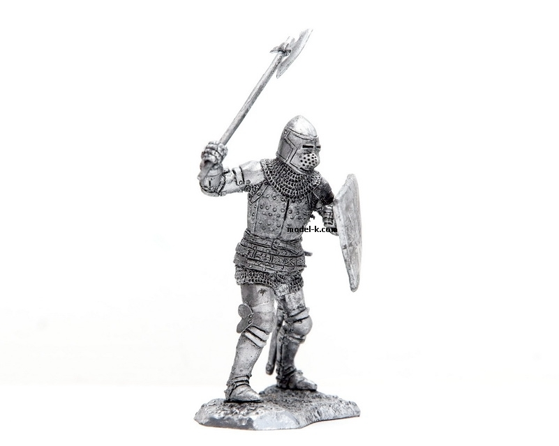 tin 54mm metal castings of metal figure Knight with axe
