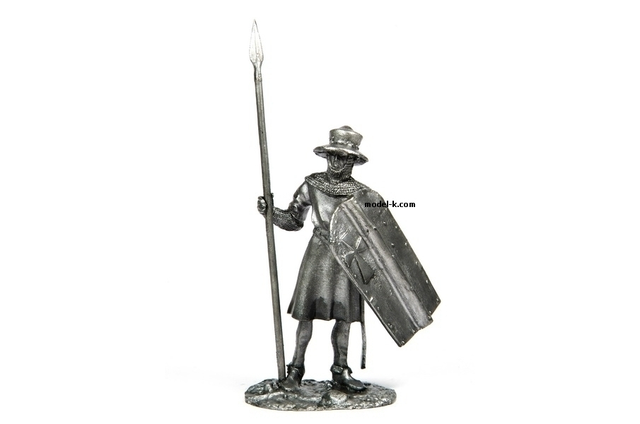 tin 54mm English Knight. Infantryman of Teutonic Order